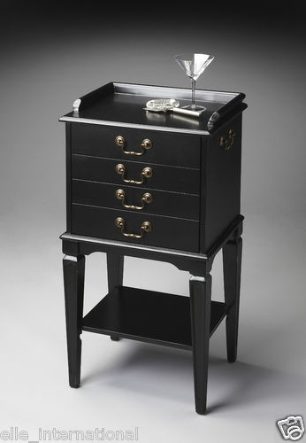 Transitional Styled Black Silver Storage Chest for Flatware Server New Free SHIP | eBay