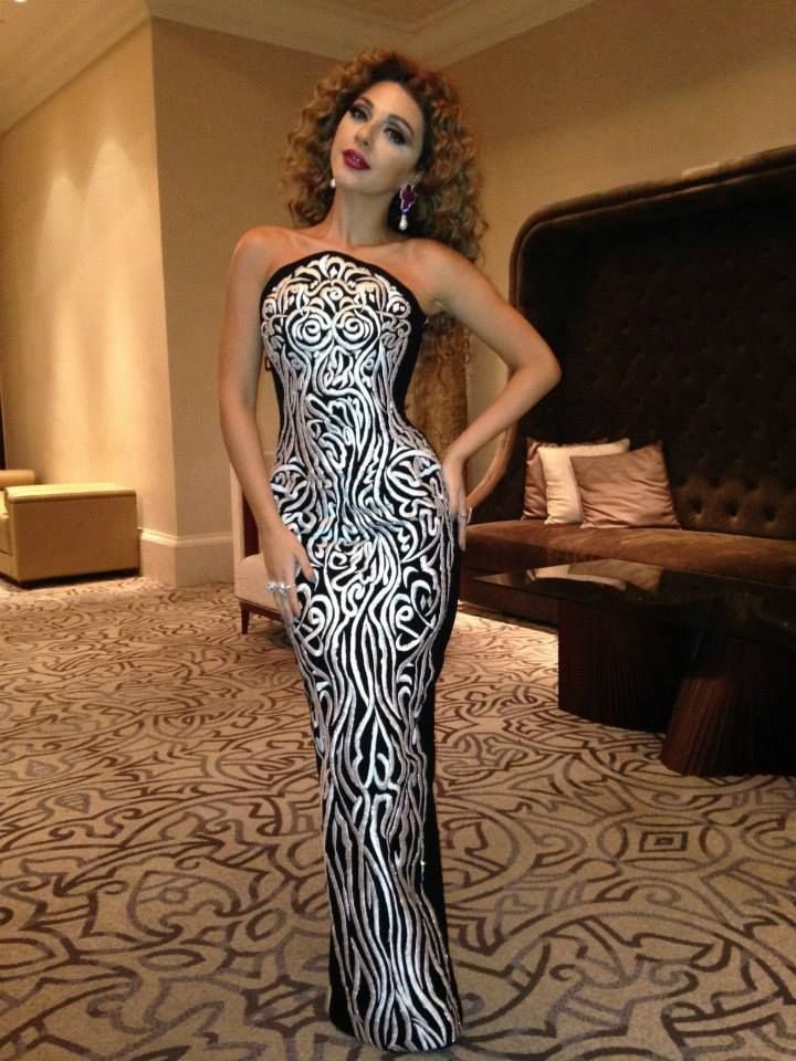 Myriam Fares Wearing Rami Kadi Hand Embroidered Couture ...