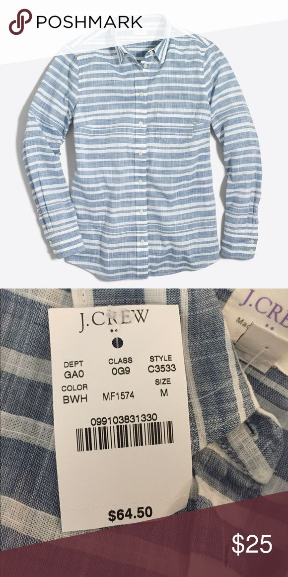 "Women's J Crew ""Striped Gauze Boy Shirt"" SOLD OUT SOLD OUT ONLINE. Women's j.Crew shirt in ""Blue White Horizontal"" color in perfect fit. 100% Cotton. BRAND NEW and purchased on sale at outlet for $50. Retail $64.50 J. Crew Tops Button Down Shirts"