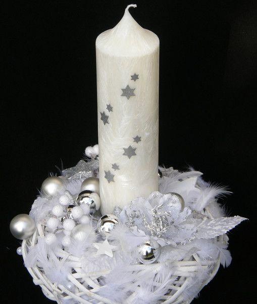 Adventskranz - ADVENTSKRANZ WEISS SILBER STEARIN KERZE STERNEN - ein Designerstück von Candelita123 bei DaWanda