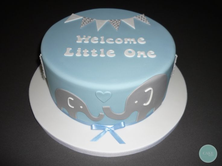 Cute baby shower cake with mother and baby elephant and bunting!