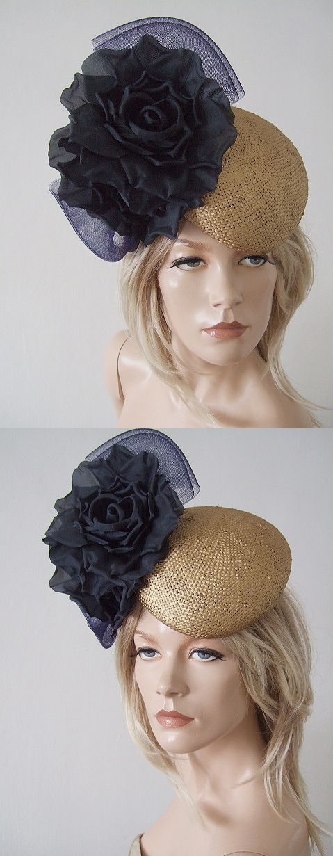 Navy and Gold Beret Floral Fascinator Headpiece, for Hire, amazing Royal Ascot, Epsom Derby Hat. Hat Hire for day at the races from www.dress-2-impress.com. Outfit inspiration for Racing Fashion. Royal Ascot Ladies Day Hat Rental Hire. #designerhats #royalascot #ascothats #ascothathire #hathire# #hatrental #royalascothats #dress2impresshats #dress2impress #passion4hats #royalhats