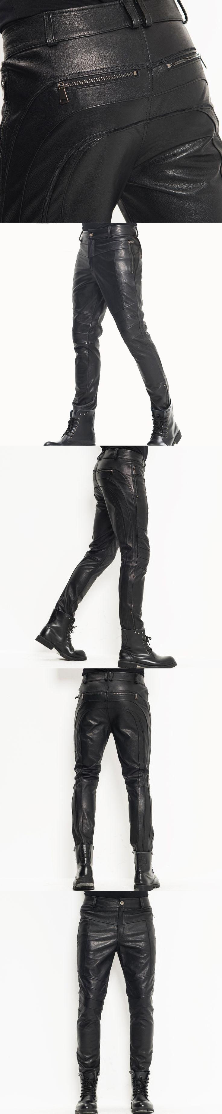 Men's Leather Pants Moto&Biker Punk Rock Pants Nightclub Slim Sheepskin Leather Trousers  WZS005
