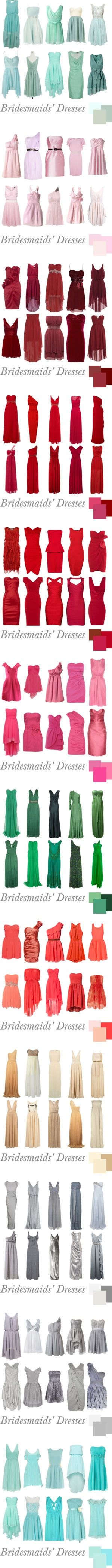 Found this awhile ago, it has tons of bridesmaids dress colors and styles, could give you some ideas! prom dress, 2015 prom resses bridesmaid dress, cheap bridesmaid dresses