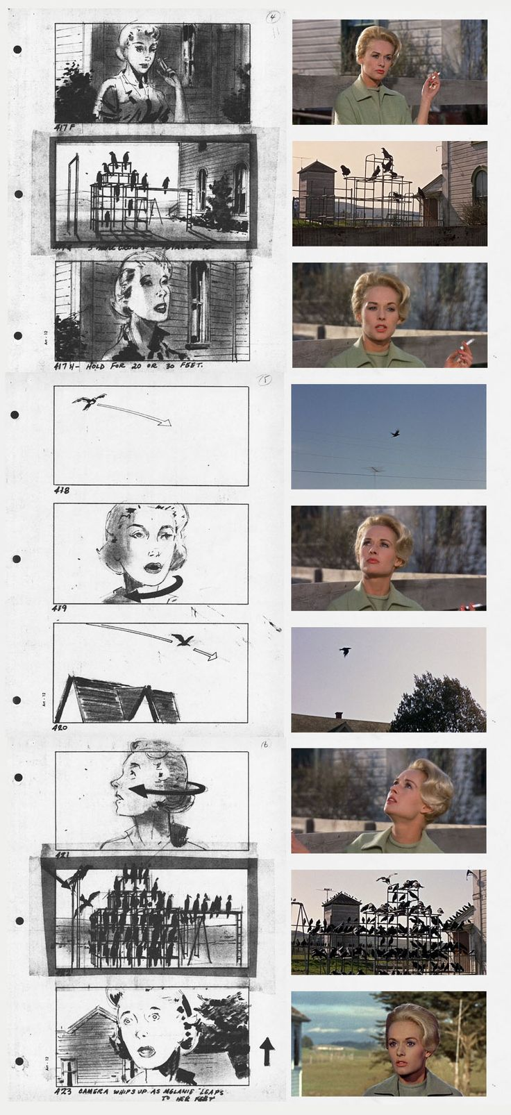 Storyboards for Alfred Hitchcock's The Birds. This is very cool - the still photos match the storyboard drawings. Woman is nearly always central and gives a balanced picture plane, depicting some calm. Birds are not evil yet, only one still shows them in black contrast to background. Women's Jewelry - http://amzn.to/2j8unq8