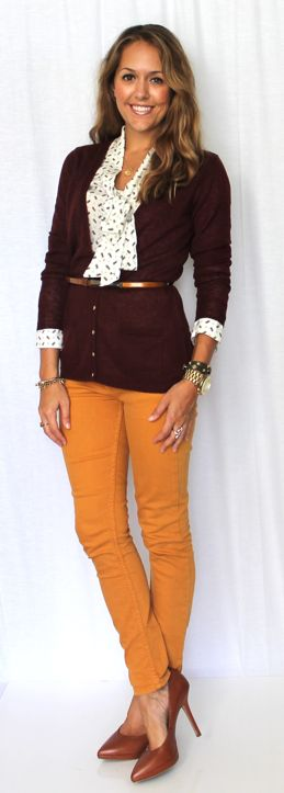 I love this! The mustard gold and deep burgundy look fantastic together. And the softly patterned blouse just ties it all together. Give me a pair of brown flats and I will be a happy girl.