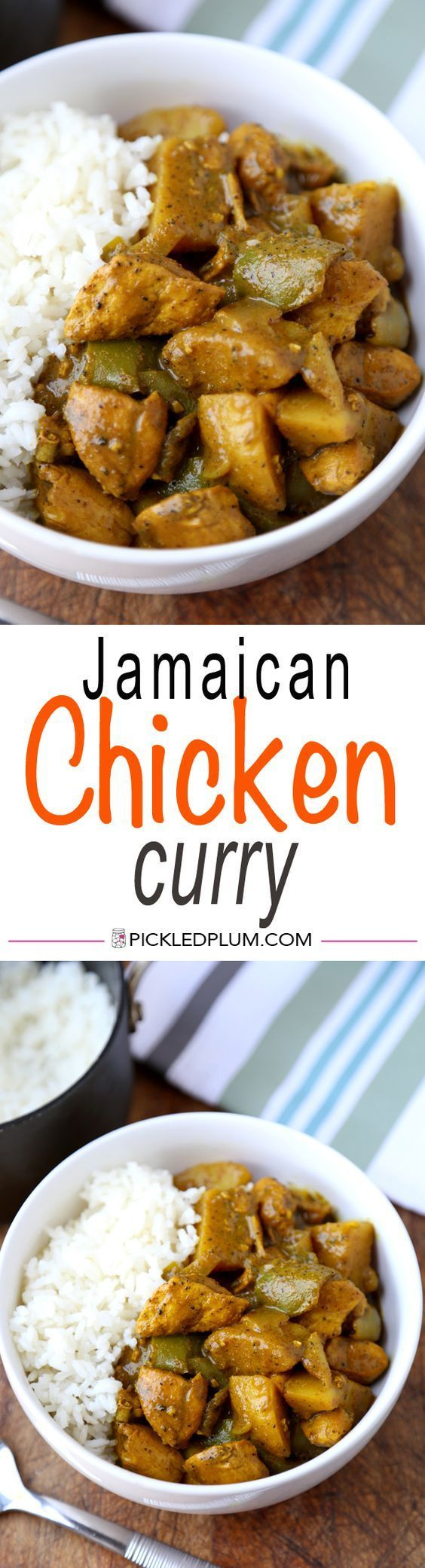 Jamaican Chicken Curry Recipe - Hot and Spicy! This is a quick and easy recipe for a fiery curry! http://www.pickledplum.com/jamaican-chicken-curry-recipe/