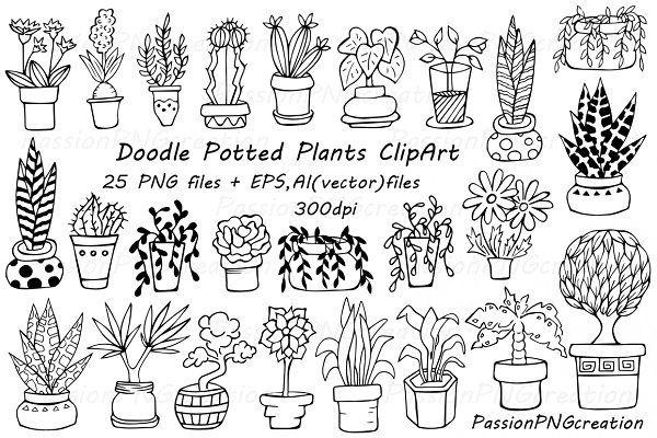 Doodle potted plants clipart - Illustrations