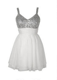 Sequin Top Shirred Waist Dress 46.50 omg so cute !!! With a little bit of blue added to it :)