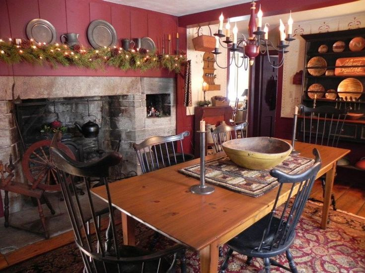 Primitive dining room primitive decor pinterest for Country kitchen dining room ideas