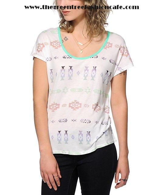 Outlet Women Clothing - Empyre Lara Tribal Print Cage Back Dolman Top -