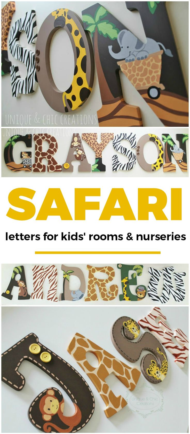 Lambs and Ivy Safari Express Themed Wooden Letters for Nursery or Bedroom | safari themed custom painted wood letters for children's rooms | baby boy's room, baby boy, little boy's room, little boy, zebra print, giraffe, elephant, cute kids room, cute children's room ideas, home decor ideas for kids, baby shower gift idea