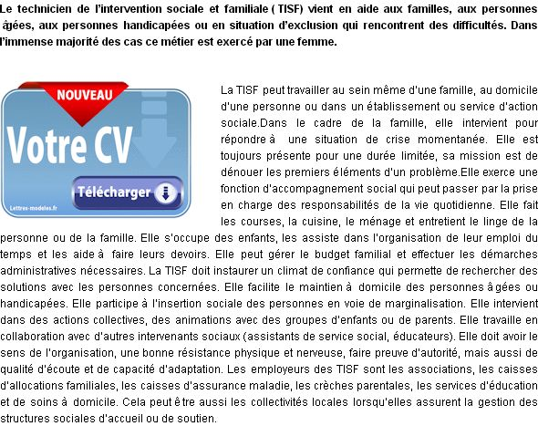 modele de cv intervention sociale