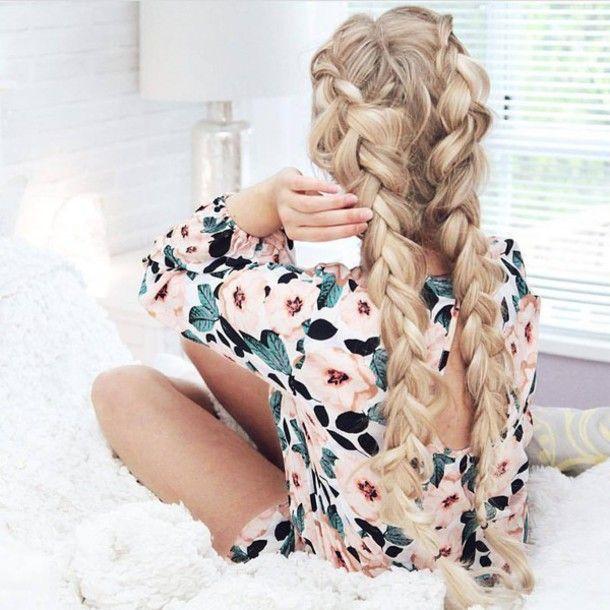 Hair accessory: braid long hair floral flowers floral romper hair hairstyles blonde hair