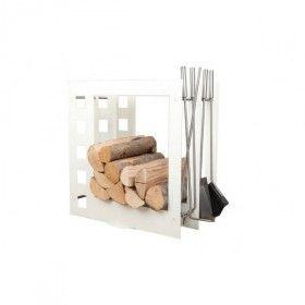 Stojak na drewno z przyborami kominkowymi SA004W