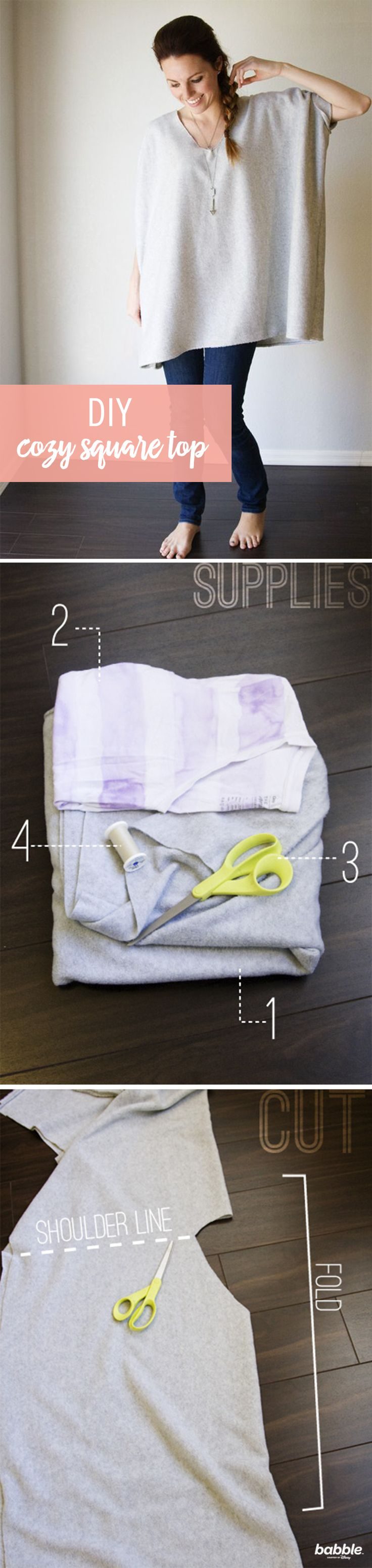 We are a huge fan of over-sized comfy clothes — especially in the winter! We've seen a few of these cozy-looking tops available at stores, but why spend a ton of money when you can just make it yourself? Spend a few dollars on a yard of fleece, make 2 seams, and 1 cut to easily recreate this DIY. Easy, warm, and ridiculously comfortable!