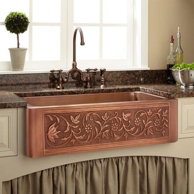 Signature Hardware 36 Vine Design Copper Farmhouse Sink With