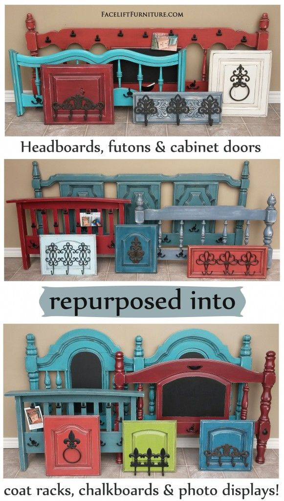 Headboards, futon arm rests, and cabinet doors repurposed into coat racks, chalkboards, and photo displays. Facelift Furniture DIY Blog.