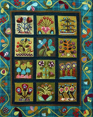 Sue Spargo folk art quilts, Flowerbed