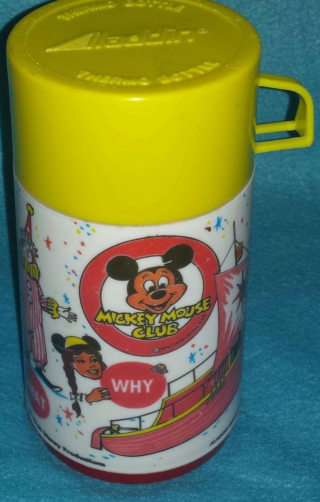 Mickey Mouse Club Thermos for Aladdin Lunch box (1970's) Disneyana Disney Yellow