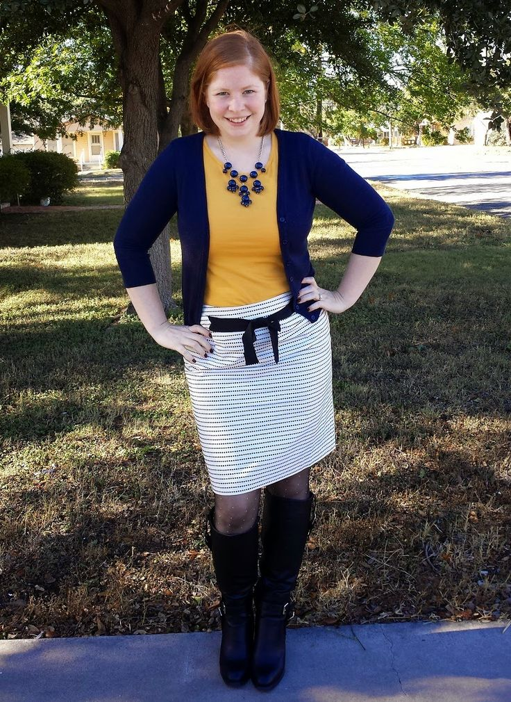 Dotted Pencil Skirt and Boots