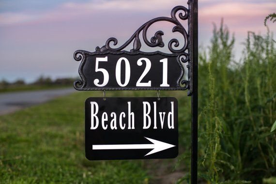 Authentic Double Sided Reflective 911 Address Sign 48 W Etsy Reflective Address Sign Address Signs For Yard Address Sign