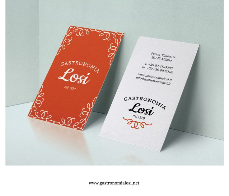 gastronomia grafica biglietti da visita arancione nero milano