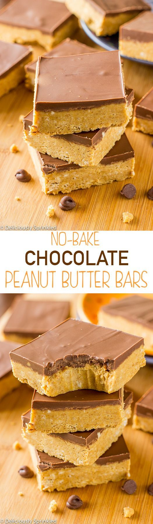 No-Bake Chocolate Peanut Butter Bars - BEST no-bake dessert ever and their super simple to make