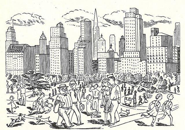 Central Park, New York - illustration by Edward Bawden - 1947 by mikeyashworth, via Flickr