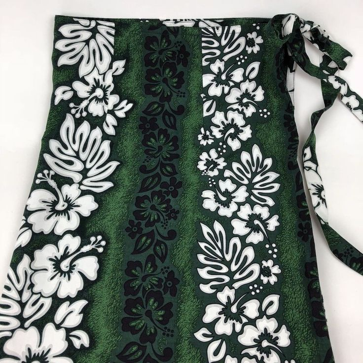 Womens Sarong Beach Wrap Skirt One Size Long Hibiscus Floral Green Maxi A32 #RoyalCreations #MaxiWrapBeachSkirtSarong #CasualBeachSwimwearCoverUp