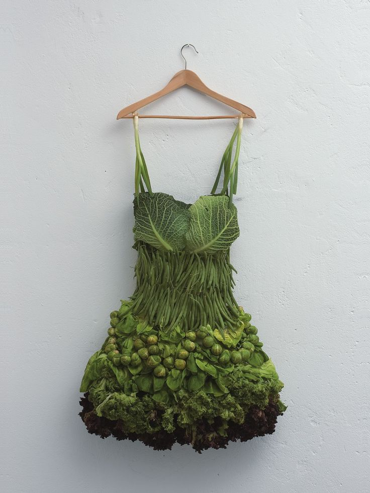 Scallion, Brussels Sprouts and Cabbage dress by Sarah Illenberger ... How cool is this? #food #Fashion
