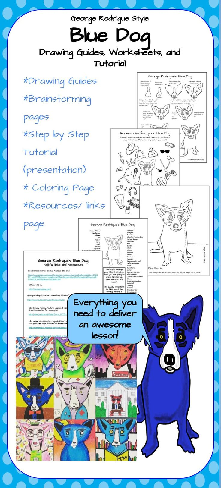 Blue dog by rodrigue lesson drawing guides and