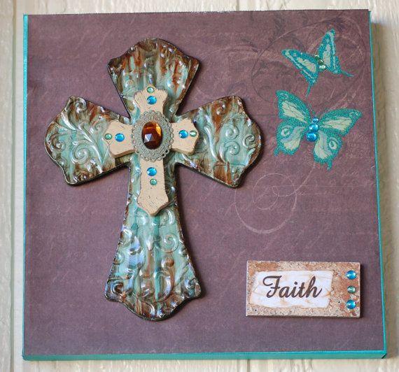 Крест холст с бабочками, крест холст, вдохновляющее искусство, христианское искусство, на стене, вера, кресты, вдохновляющие Home Decor