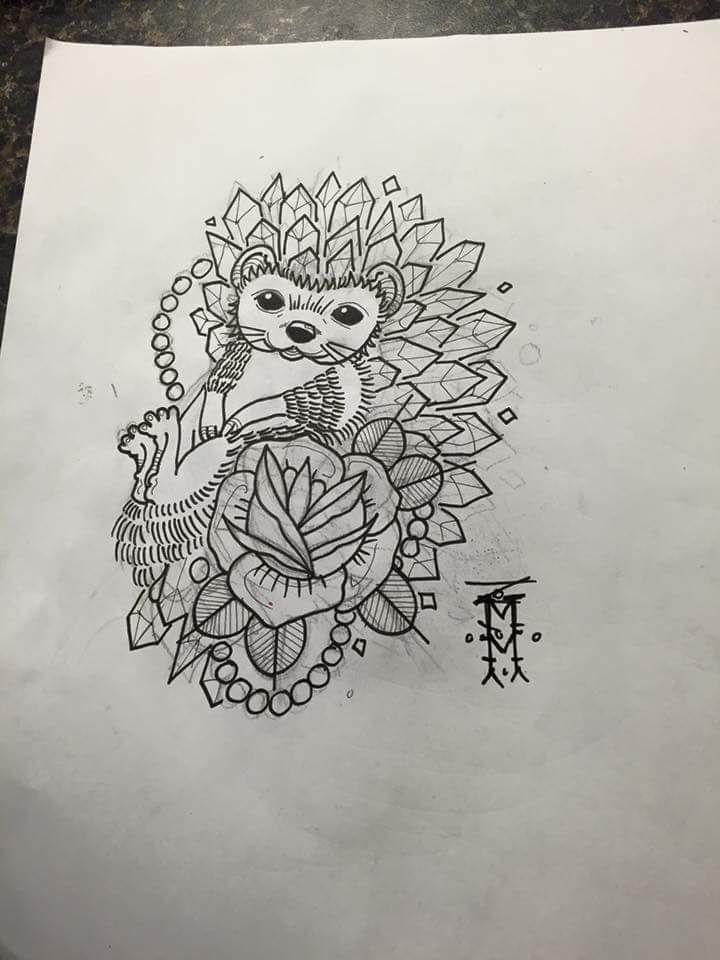 Cute hedgehog tattoo