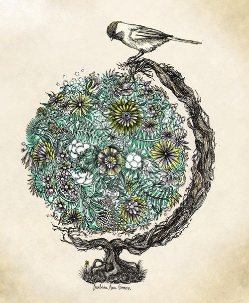Green World ~ artist Barbara Ana Gomez #art #illustration