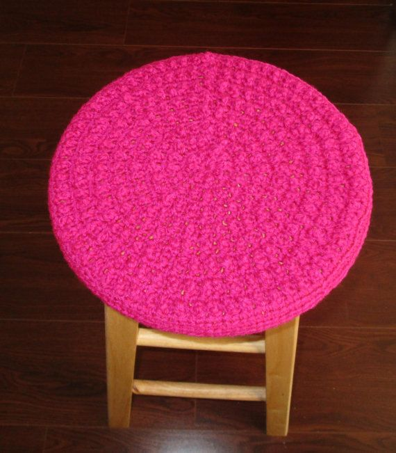 Crochet Bobble Stool Cover Dark Rose Bar by CoralsChicBoutique