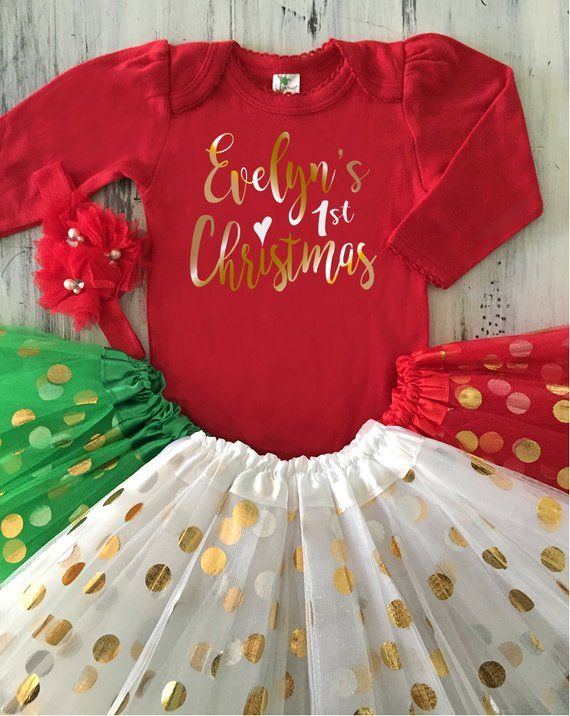 63031cedf40c Baby Girl My First CHRISTMAS Outfit Personalized Red Onesie White Gold Tutu Baby's  1st Christmas Onesie Red and Gold and White Christmas Set