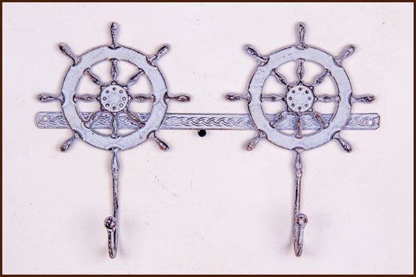 Garden and Home Decor Shop 3 Hook Ship Wheel  Grey  33x5x23cm