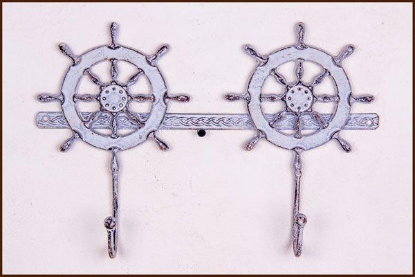 Garden and Home Decor Shop 3 Hook Ship Wheel  Grey  33x5x23cm