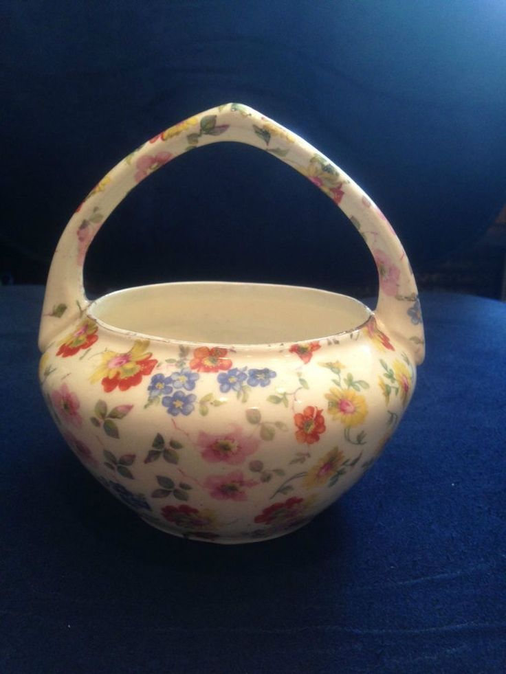 vintage Erphila chintz pattern  handled basket