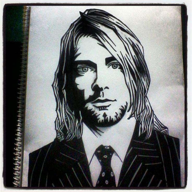 Kurt Cobain Retrato Técnica Tradicional.   #nirvana #band #rock #grunge #retrato #ilustración #sketch #dibujo #KurtCobain