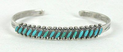 Vintage NOS sterling silver and turquoise Needlepoint bracelet size 6 1/8