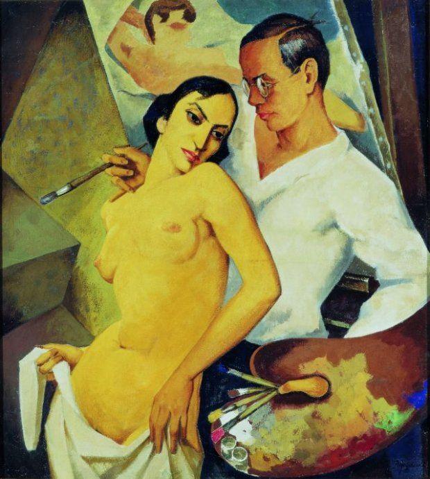 Georg Paul Heyduck, 'Autoportret z modelką'/ Materiały Muzeum Narodowego  Jednak nie tylko dzieła sztuki dawnej są ozdobą tej wystawy. Wśr...