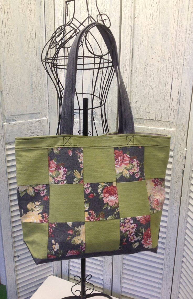 Bleu Redux Upcycle Green & Gray Floral Big Check Denim Tote (EB20) by GrandmaRietas on Etsy