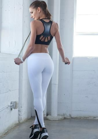 Heart Butt Yoga Legging - White - NINA B ROZE active apparel - 1