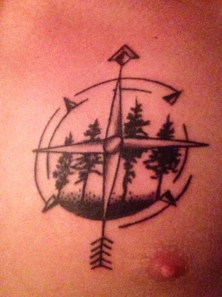 New compass/arrow/tree tattoo