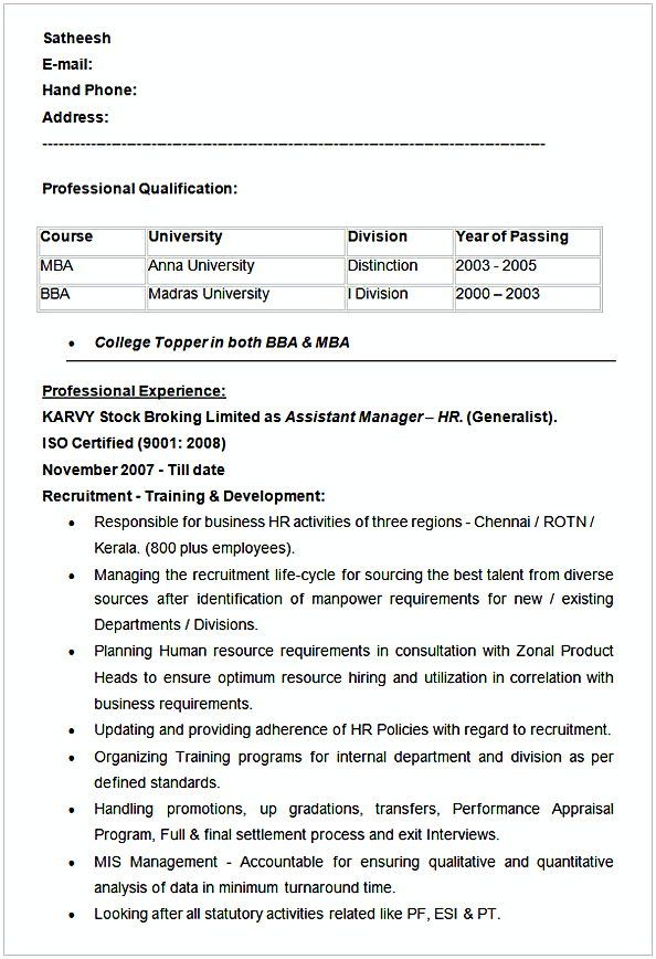 Assistant Manager HR Resume Example , HR Manager Resume Sample - hr manager sample resume