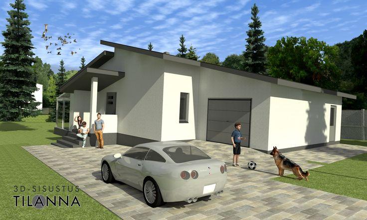 3D-visualisointi/ Valkoisen porrastetun harjakattoisen kivitalon julkisivujen 3D-visualisointi ennakkomarkkinointia varten / 3D-sisustus Tilanna,  3D-visualisointia ja sisustussuunnittelua ympäri Suomen