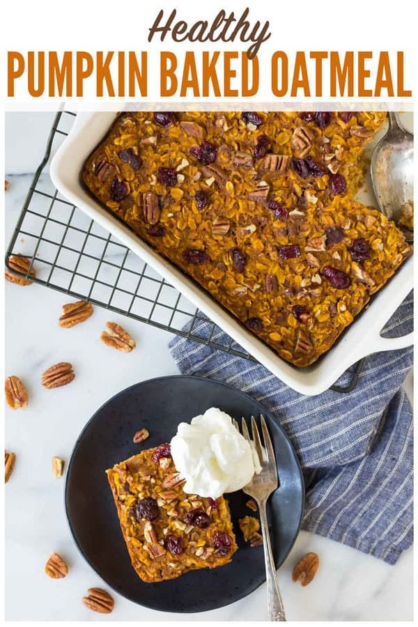 Healthy Pumpkin Baked Oatmeal With Dried Cranberries Maple Syrup And Pecans No Sugar Super Filling And Ab Baked Pumpkin Oatmeal Baked Pumpkin Vegan Pumpkin