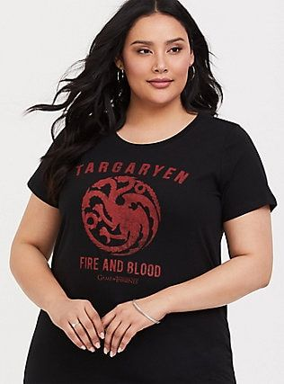 bd48313b Game of Thrones Targaryen Black Fitted Tee, DEEP BLACK | Clothing in ...